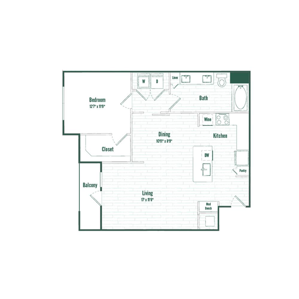 A6 | 1 bed 1 bath | 854 sq ft