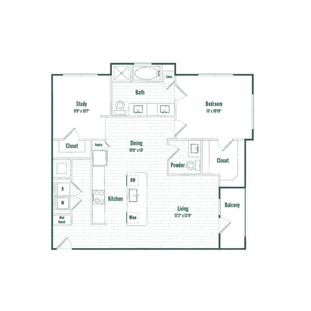 A7 | 1 bed 1.5 bath | 1024 sq ft