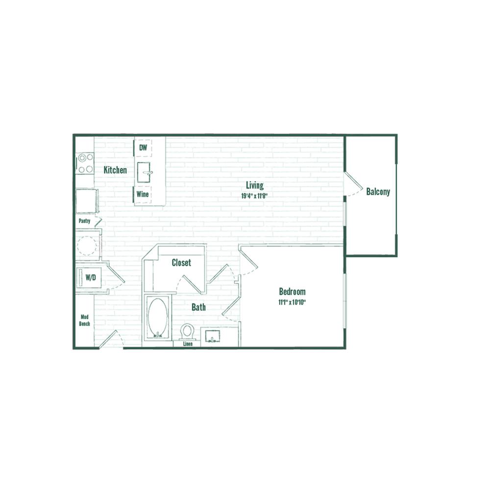 A2 | 1 bed 1 bath | 710 sq ft