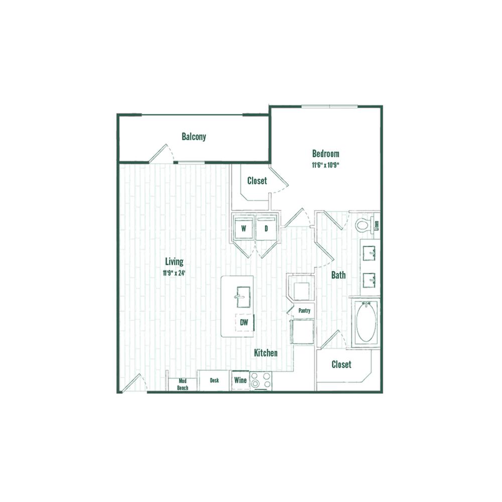 A5 | 1 bed 1 bath | 791 sq ft