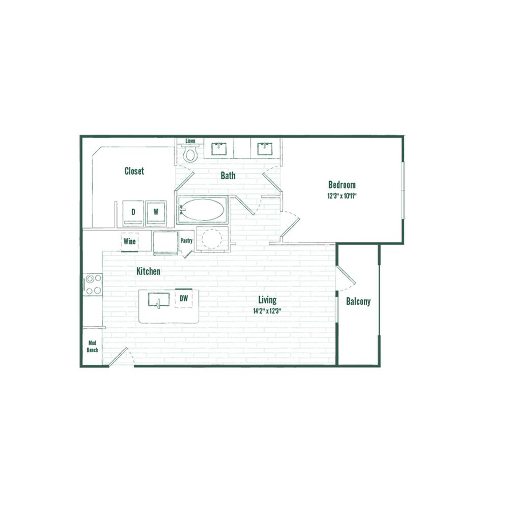 A3 | 1 bed 1 bath | 710 sq ft.