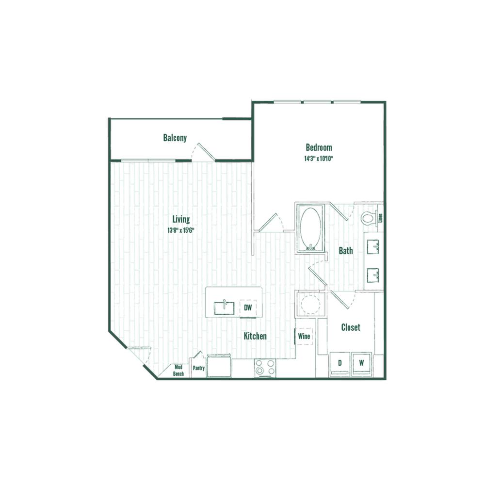 A4 | 1 bed 1 bath | 840 sq ft