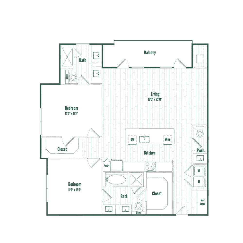 B3 | 2 bed 2.5 bath | 1268 sq ft