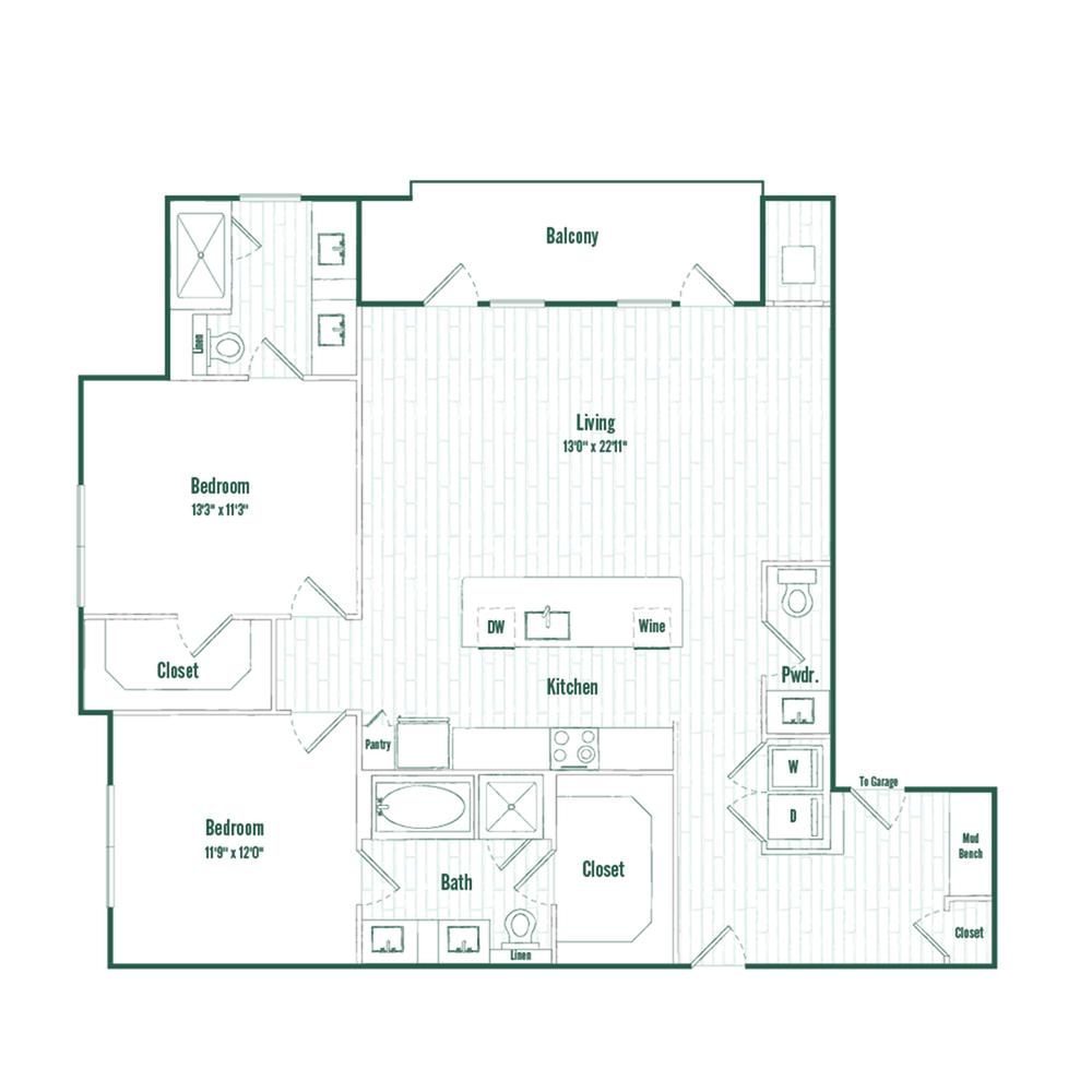 B3a | 2 bed 2.5 bath | 1341 sq ft