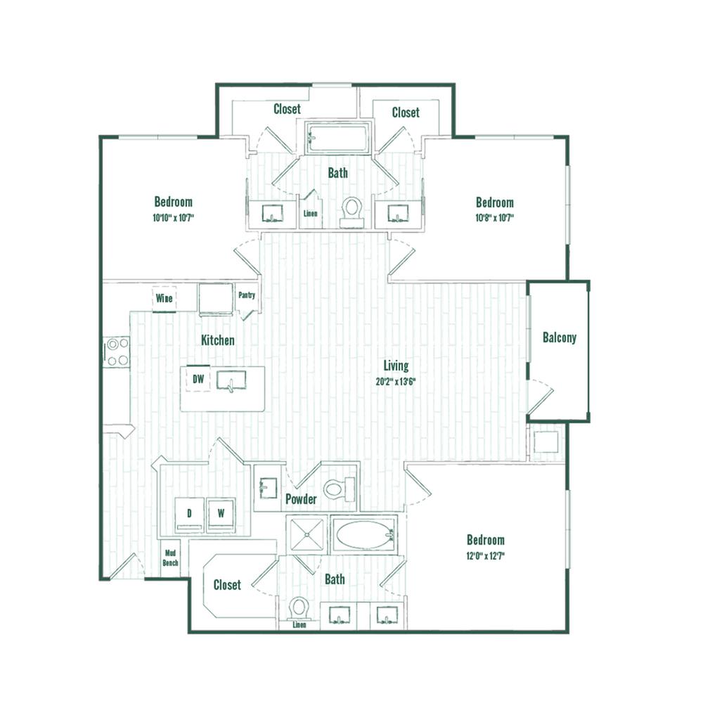 C1 | 3 bed 2 bath | 1394 sq ft