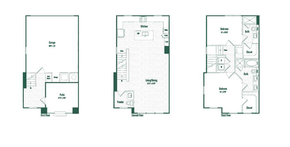 TH2A | 2 bed 2.5 bath | 1556 sq ft.