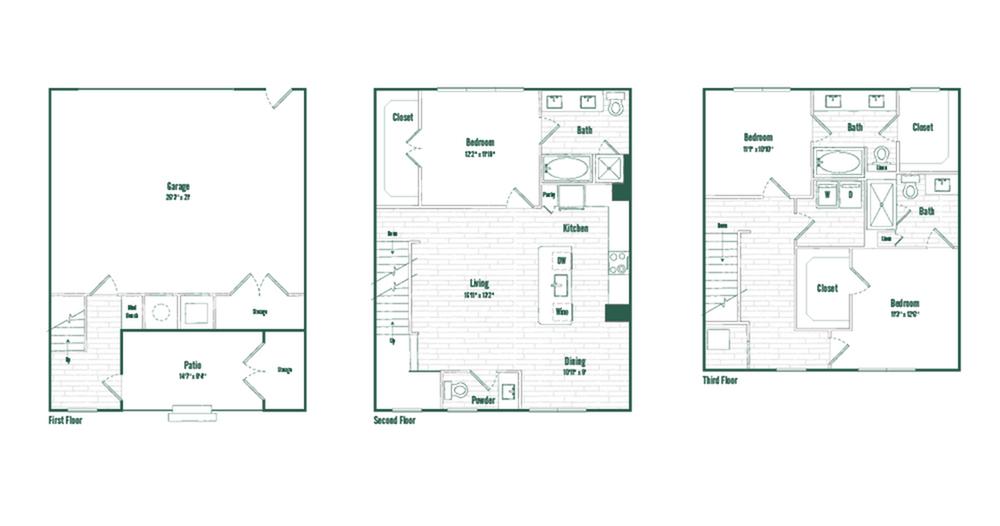 Floor PlanTH3 | 3 bed 3.5 bath | 1764 sq ft