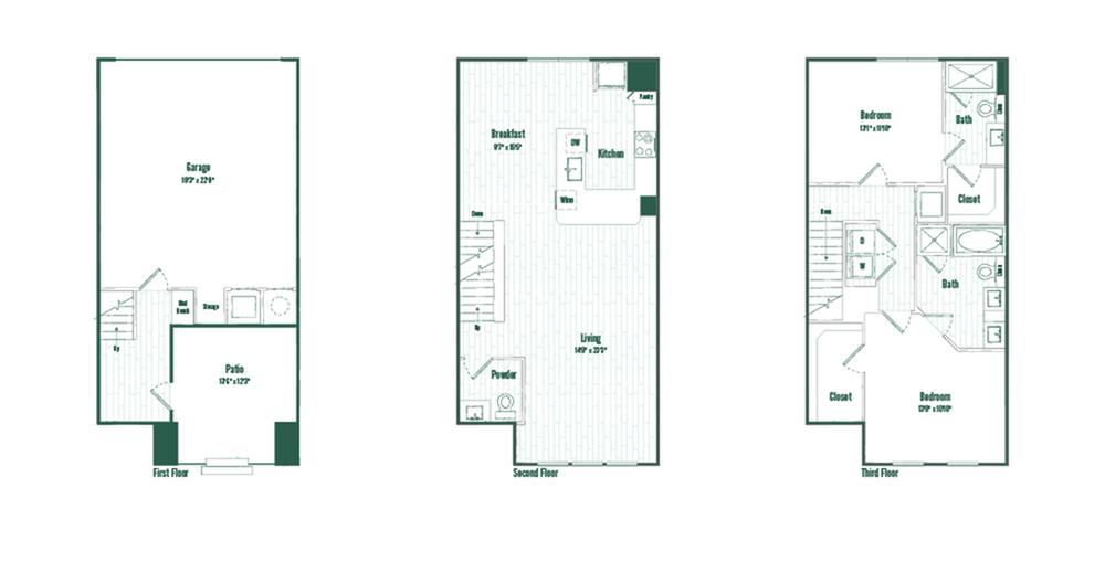 Floor PlanTH2 | 2 bed 2.5 bath | 1593 sq ft