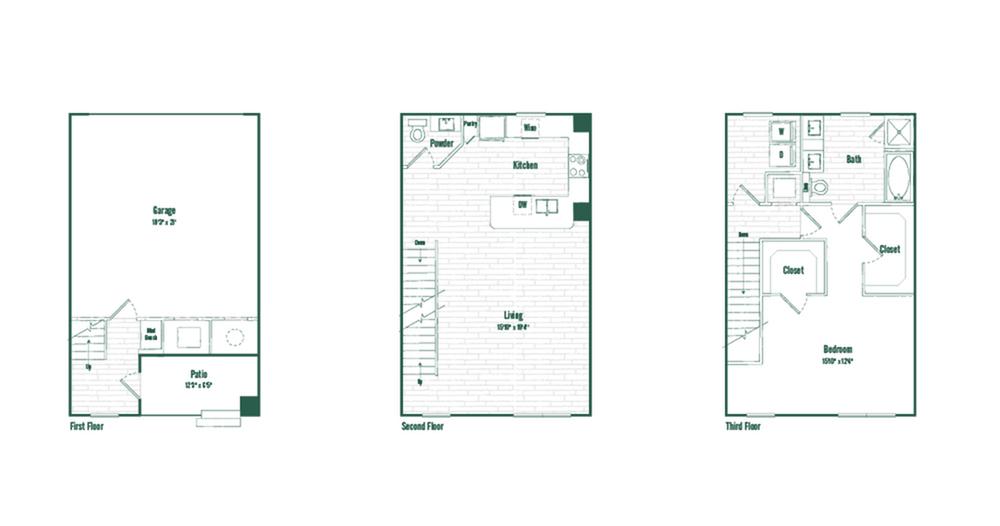 TH1 | 1 bed 1.5 bath | 1310 sq ft