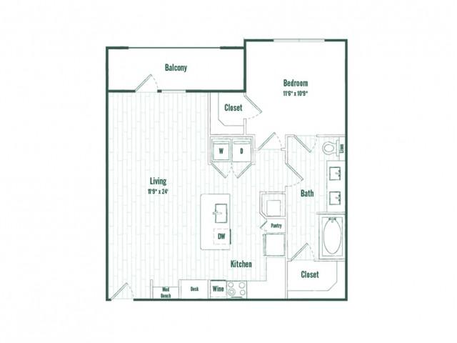 A5a | 1 bed 1 bath | 803 sq ft