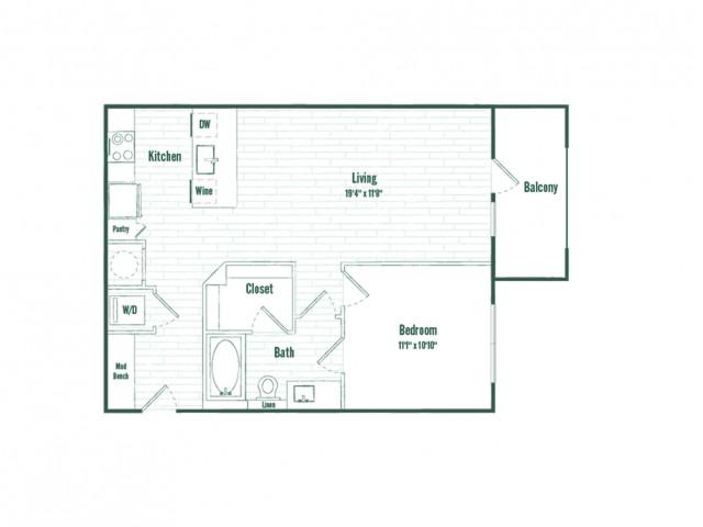 A2c | 1 bed 1 bath | 710 sq ft