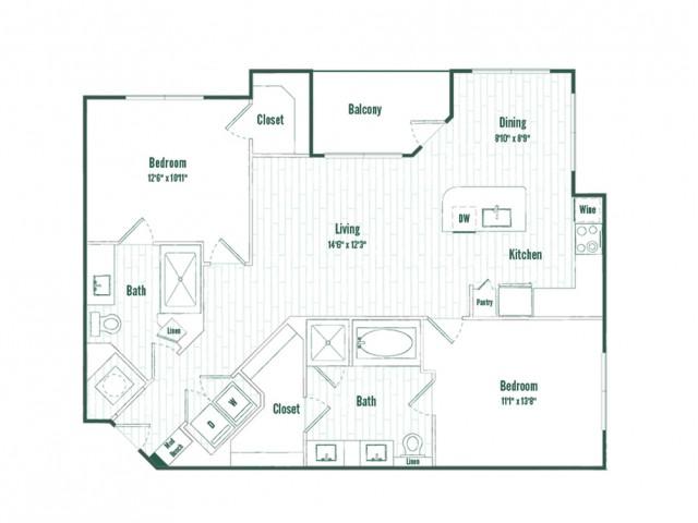 B2HC | 2 bed 2 bath | 1129 sq ft