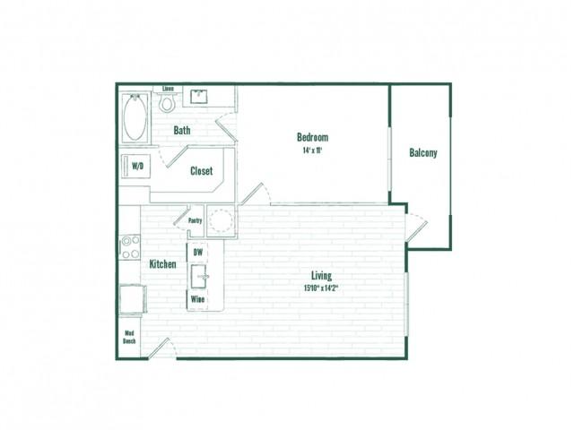 A1b | 1 bed 1 bath | 705 sq ft