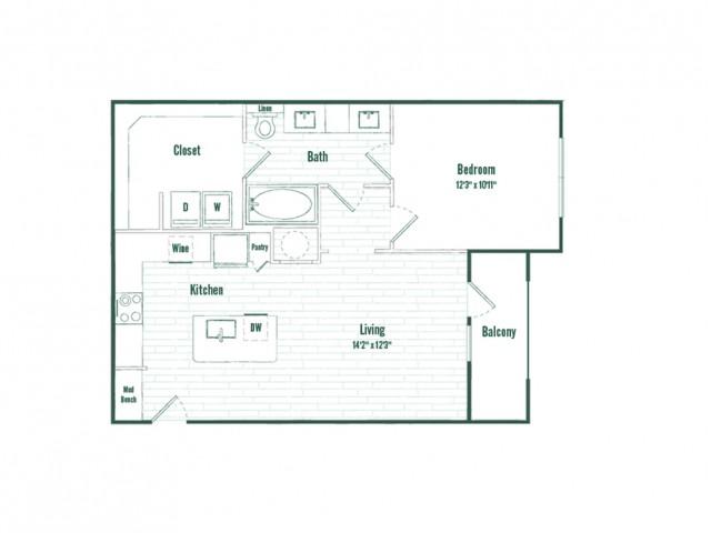 A3a | 1 bed 1 bath | 764 sq ft