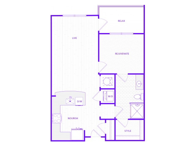 The King | 1 bed  1 bath | 810 sq ft