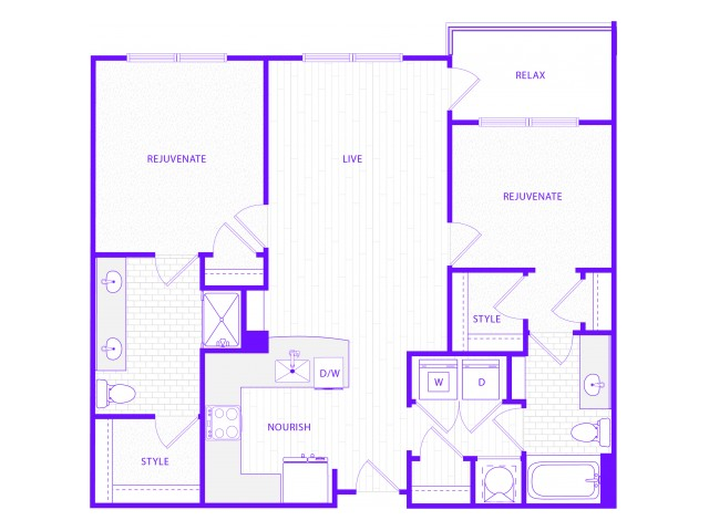 The Rush | 2 bed  2 bath | 1200 sq ft