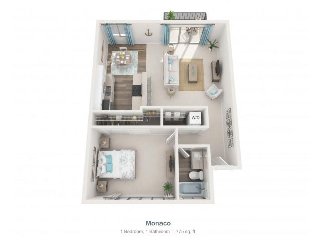 Monaco - r   1 bed 1 bath   from 775 square feet