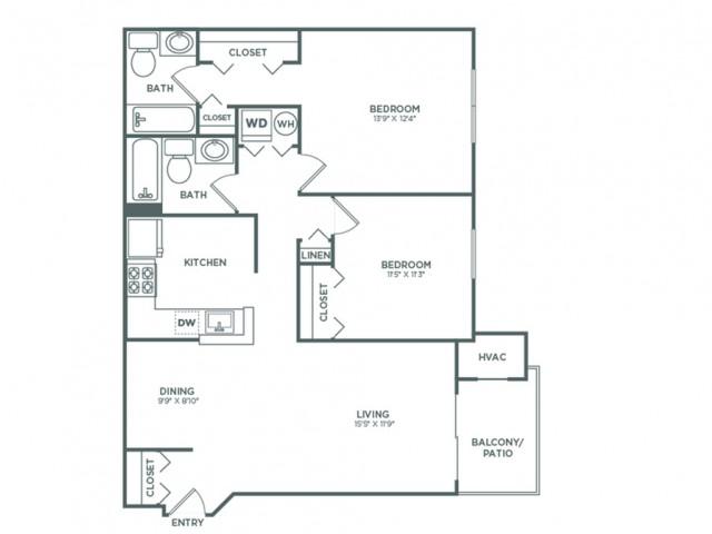 B3   2 bed 2 bath   942 sq ft