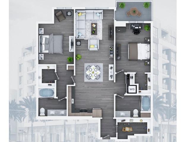 2 bedroom C13 1263 Sq ft