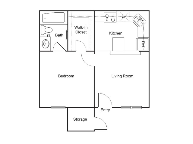 A1   1 bed 1 bath   444 sq ft