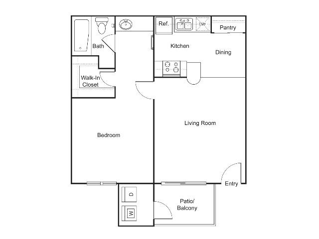 A2   1 bed 1 bath   552 sq ft