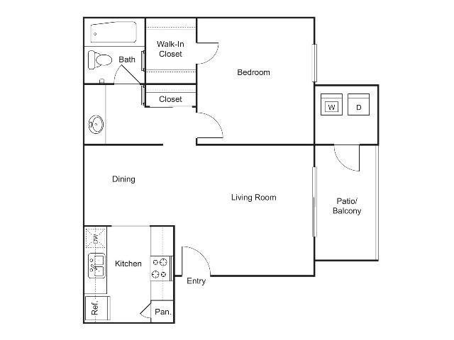 A3   1 bed 1 bath   614 sq ft