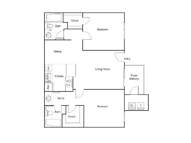 B2   2 bed 2 bath   852 sq ft