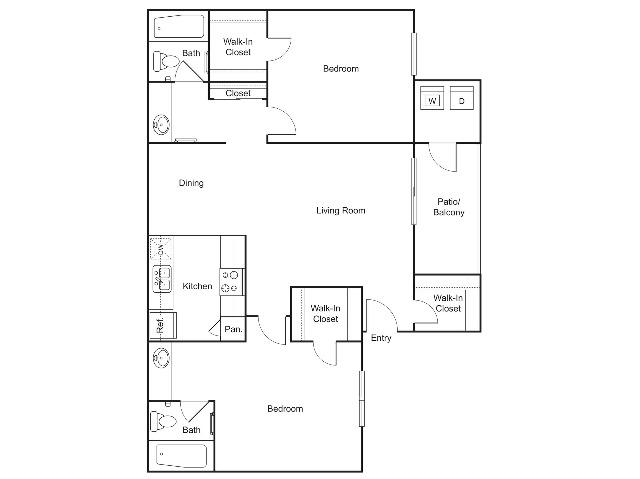 B3   2 bed 2 bath   934 sq ft
