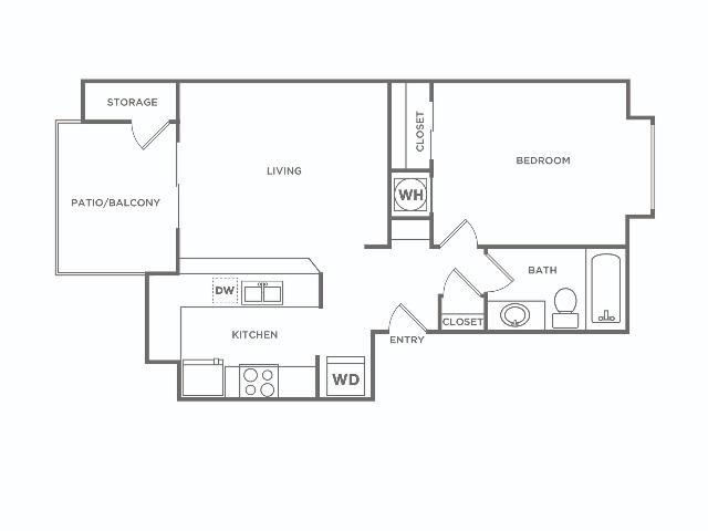 A1 | 1 bed 1 bath | 583 sq ft
