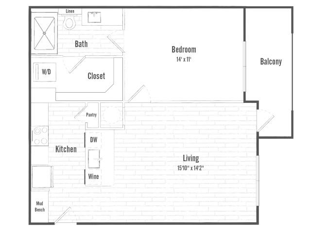 A1a | 1 bed 1 bath  | 705 sq ft