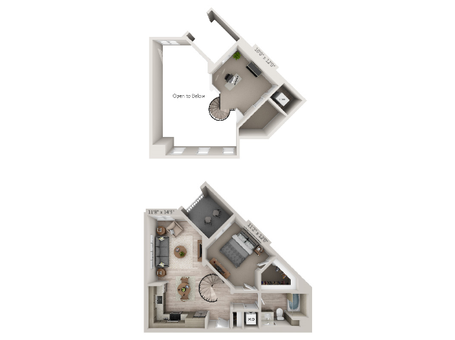 A1M | 1 bed 1 bath | from 825 square feet