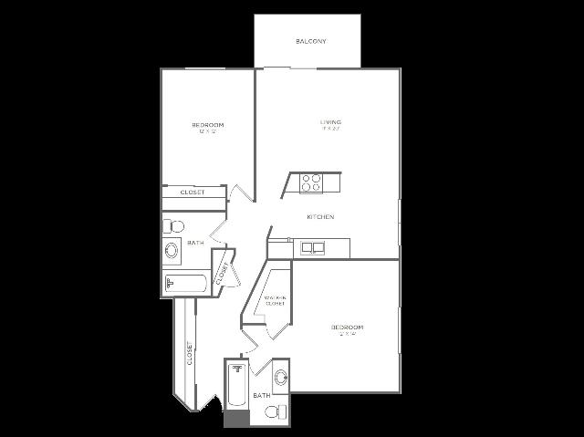 2 Bedroom 2 Bathroom B4 | from 1036 sq ft