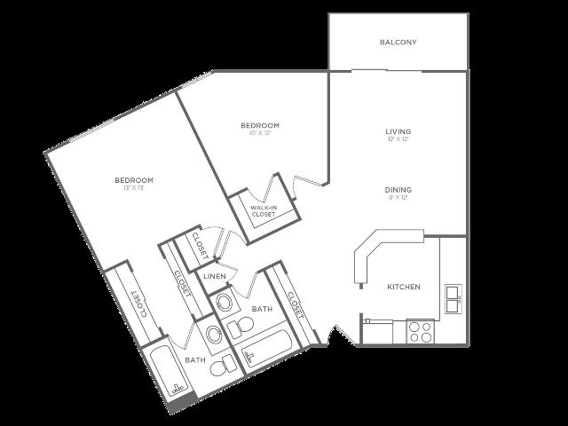 2 Bedroom 2 Bathroom B6 | from 1044 sq ft