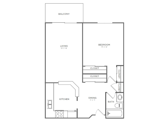 1 Bedroom 1 Bathroom A1r2 | from 767 sq ft