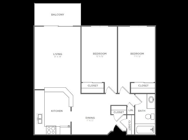 2 Bedroom 1 Bathroom B2r | from 1004 sq ft