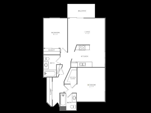 2 Bedroom 2 Bathroom B4r2 | from 1036 sq ft