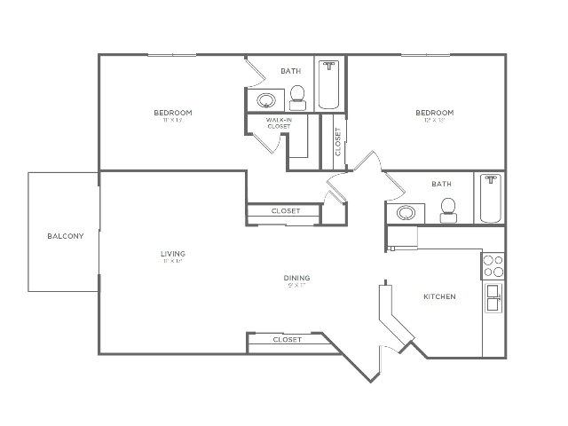2 Bedroom 2 Bathroom B5r | from 1042 sq ft