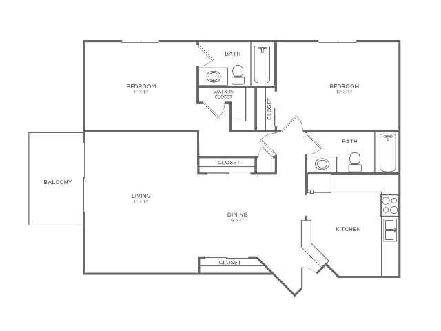 2 Bedroom 2 Bathroom B5r2 | from 1042 sq ft