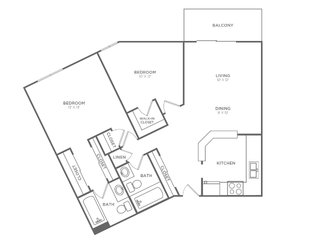 2 Bedroom 2 Bathroom B6r | from 1044 sq ft