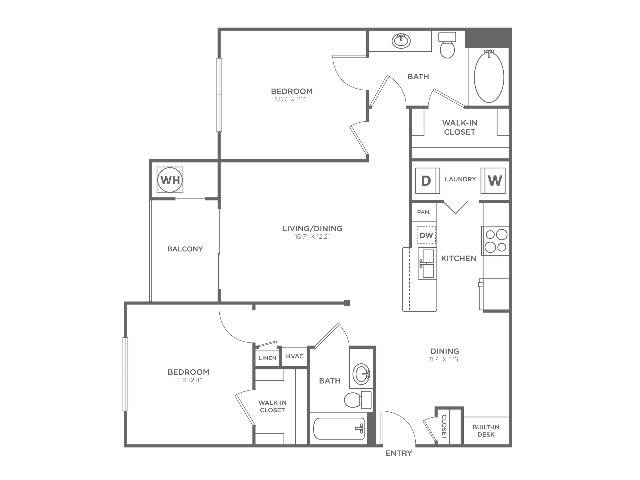 B2 Sophisticated | 2 bed 2 bath | from 1073 square feet