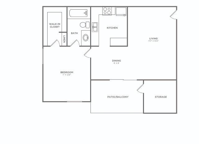1X1 A   1 bed 1 bath   652 sq ft