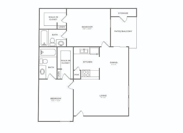 2x2 C   2 bed 2 bath   873 sq ft