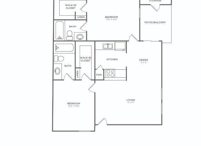2x2 F Reno C   2 bed 2 bath   873 sq ft