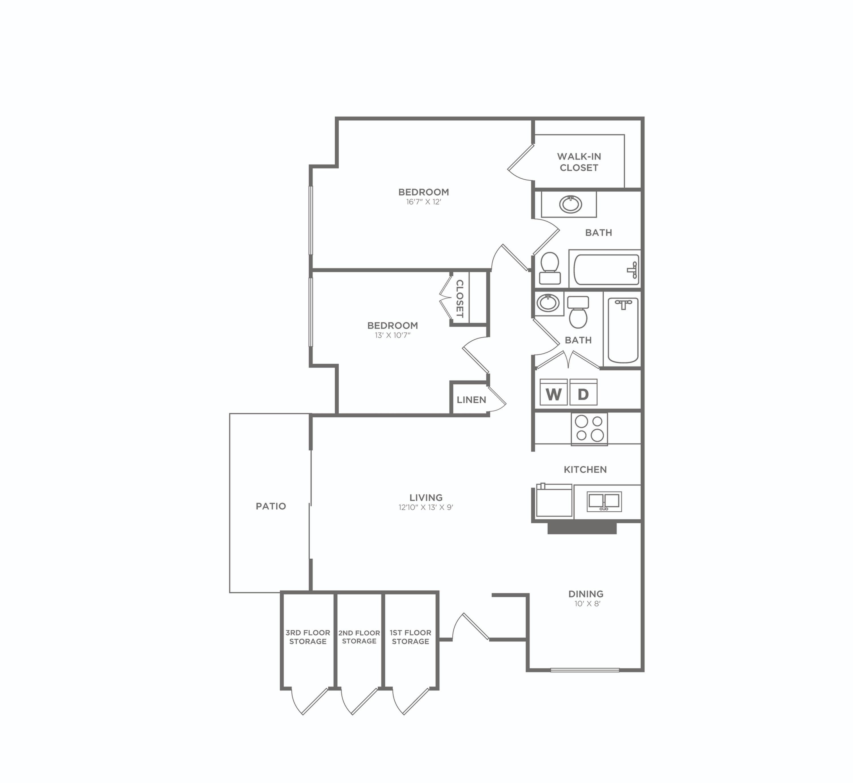 2x2 P Reno-C   2 bed 2 bath   1021 sq ft