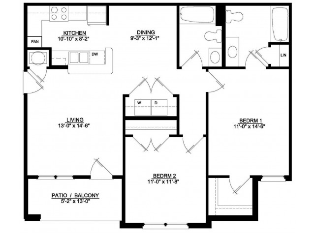 2 Bedroom 2 Bath Interior
