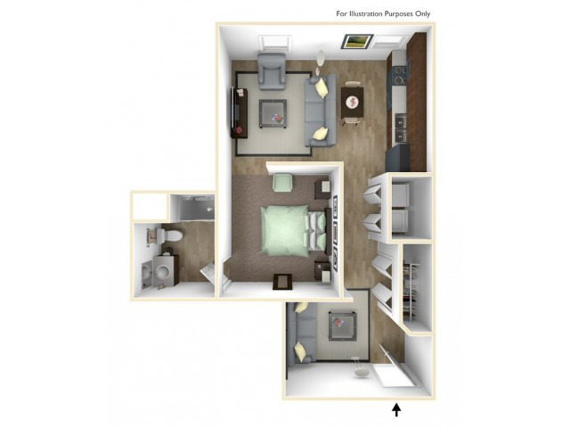 Studio with Den (handicap accessible) - G Floor Plan