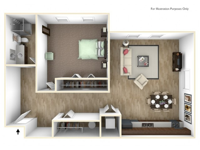1 Bedroom, 1 Bathroom I Floor Plan