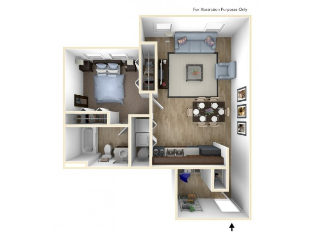 1 Bedroom, 1 Bathroom D Floor Plan