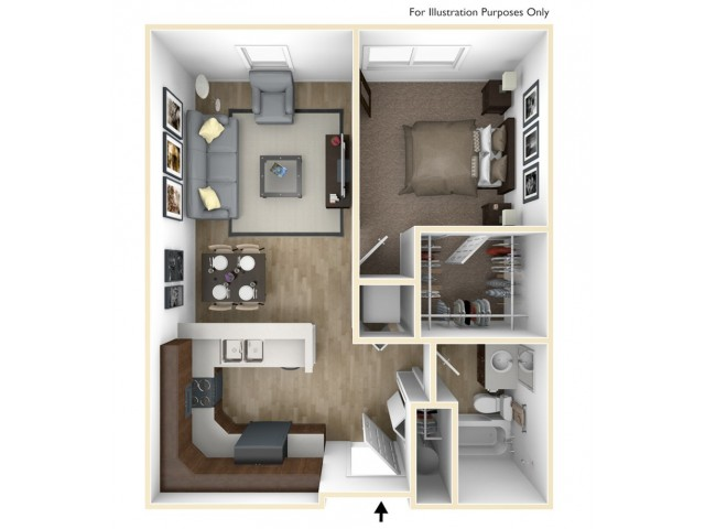 1 Bedroom, 1 Bathroom A Floor Plan