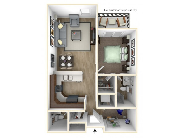 1 Bedroom, 1.5 Bathroom C Floor Plan